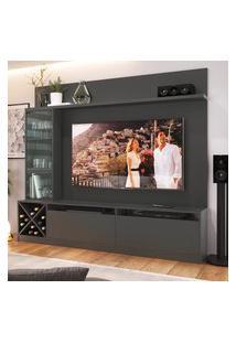 """Painel Home Para Tv 60"""" Com 3 Portas Preto Lilies Móveis"""