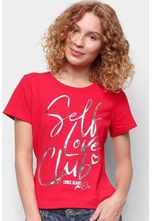 Camiseta Coca Cola Self Love Club Feminina - Feminino-Vermelho