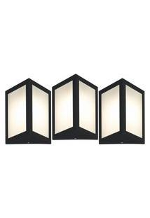 Arandela Triangular Preto Kit Com 3 Casah
