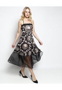 Vestido MãDi Com Renda- Preto & Dourado- Charrycharry