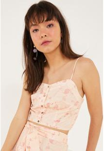 Blusa Cropped Flamingos - Rosa Claro & Rosapop Up