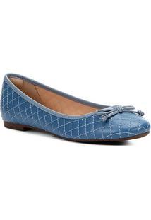 Sapatilha Shoestock Matelassê Laço Feminina - Feminino-Azul