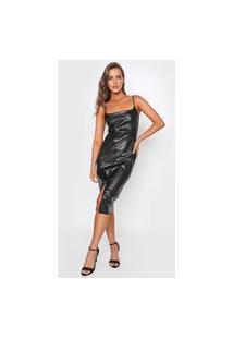 Vestido Colcci Midi Resinado Preto
