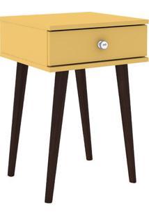 Criado Mudo Com Gaveta- Amarelo & Marrom- 60X40X38Cmmovel Bento