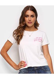 Camiseta Volare Estampada Manga Curta Feminina - Feminino-Off White