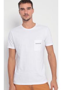 Camiseta Com Bolso- Branca & Preta- Calvin Kleincalvin Klein
