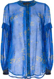 Ginger & Smart Blusa Estampada Aquiver - Azul