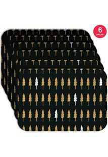Jogo Americano Love Decor Wevans Minimalista Pinheiros Kit Com 6 Pçs