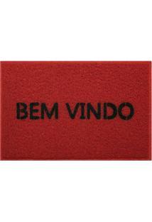 Capacho Bem Vindo- Vermelho Escuro & Preto- 60X40Cm