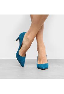 Scarpin Couro Luiza Barcelos Salto Médio Bico Fino - Feminino-Azul Turquesa