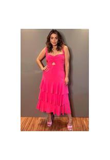 Vestido Midi Almaria Plus Size Lemon Camadas Rosa