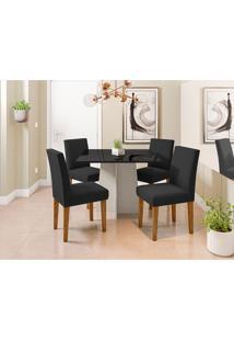 Conjunto De Mesa De Jantar Com Tampo De Vidro Marina E 4 Cadeiras Giovana Veludo Preto