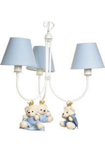 Lustre 3L Ariel Com 3 Ursinhos Príncipes Bebê Infantil Potinho De Mel Azul