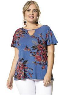 7ec822d1d ... Blusa Viscose Stretch Floral Wee! Plus Size - Feminino-Azul
