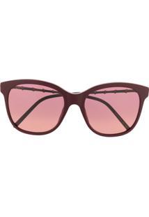 Gucci Eyewear Óculos De Sol Quadrado Com Efeito De Bambu - Vermelho