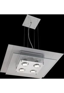 Pendente Saturno Aluminio E Vidro Lmq 133 Escovado Transparente Bivolt