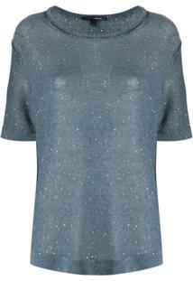 Tortona 21 Blusa De Tricô Com Efeito De Brilho - Azul