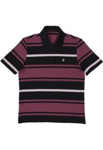Camisa Polo Tassa Regular Listrada Masculina - Masculino-Lilás