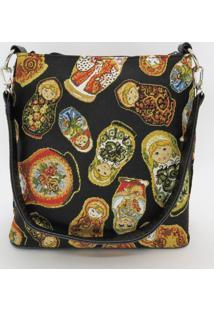 Bolsa Estruturada Em Gobelino Matrioshkas (Bonecas Russas) - Dourado/Preto/Vermelho - Feminino - Dafiti