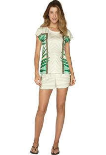 Pijama Comfort Curto Under The Palms Lua Luá Verde