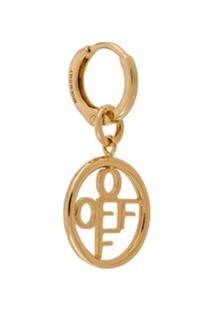 Off-White Par De Brincos Com Logo - Dourado