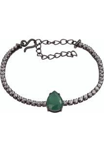 Pulseira Riviera Gota The Ring Boutique Pedra Cristal Verde Esmeralda Ródio Negro