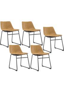 Kit 05 Cadeiras Decorativa Sala De Estar Recepção Fixa Maia Pu Caramelo - Gran Belo