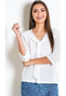 Blusa Com Gola Laço Branca Moda Evangélica