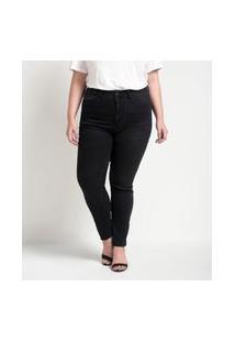 Calça Jeans Skinny Com Tachas Nos Bolsos Curve & Plus Size Preto