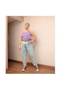 Calça Jeans Baggy Com Puídos Na Barra Curve & Plus Size | Ashua Curve E Plus Size | Azul | 54