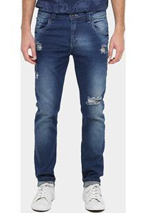 Calça Jeans Slim Local Estonada Masculina - Masculino