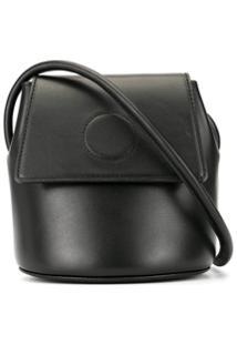 Modern Weaving Bolsa Bucket Com Detalhes Pespontos - Preto