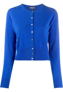 N.Peal Cardigan Cropped De Cashmere - Azul