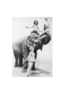 Painel Adesivo De Parede - Garotas E Elefante - 168Pn-M
