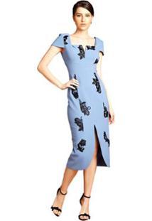 Vestido Midi Izadora Lima Brand Em Crepe Com Manguinhas Curtas Feminino - Feminino-Azul Claro
