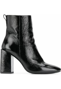 Ami Paris Ankle Boot Com Salto Bloco - Preto
