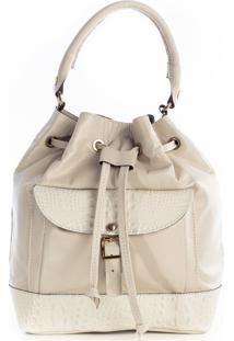 Bolsa Saco Com Bolso De Couro Marfim