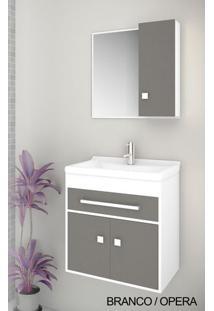 Gabinete Para Banheiro Kit Vegas 50Cm - Balcão + Espelheira + Marmorite - Branco Ópera