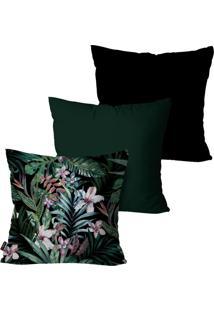 Kit Com 3 Capas Para Almofadas Pump Up Decorativas Verde Folhas E Flores 45X45Cm