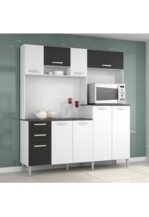 Cozinha Compacta 9 Portas 2 Gavetas Gisele 423 Branco/Preto - Poquema