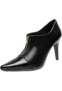 Bota Ankle Boot Miuzzi Couro Bico Fino Fashion Estilo Design - Feminino
