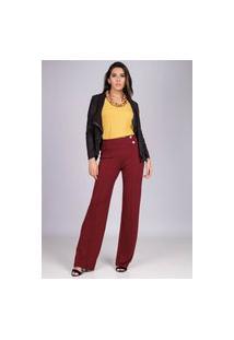 Calça Pantalona Malha Com Botão Madrepérola E Bolso Bordô