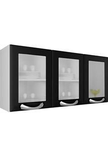 Armário 3 Portas Com Vidro Premium Itatiaia Ipv3-120 Preto