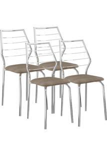 Cadeira 1716 04 Unidades Camurça Conhaque/Cromada Carraro