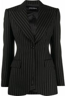 Dolce & Gabbana Blazer Risca De Giz Com Abotoamento Simples - Preto