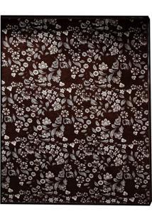 Tapete Home Belga Floral Retangular Poliéster (150X200) Tabaco