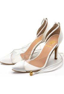 Sapato Scarpin Salto Alto Em Napa Branca Com Transparência