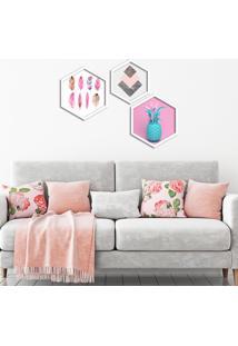 Kit 2 Quadros Com Moldura Hexagonal Pink