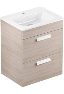 Gabinete Para Banheiro Em Mdf Com Lavatório Debba 45X80Cm Branco E Amantea
