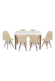 Conjunto Mesa De Jantar Luiza 135Cm Branca Com 6 Cadeiras Botonê - Nude